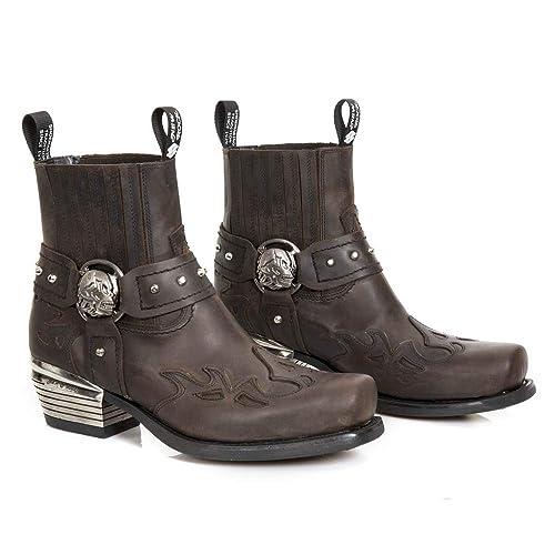 New Rock M.7966-S4 Botas Botines Hombre Caballero Marrón Cuero Piel Tacón Motorista Motero Oeste Vaquero Western Cowboy Urbano: Amazon.es: Zapatos y ...