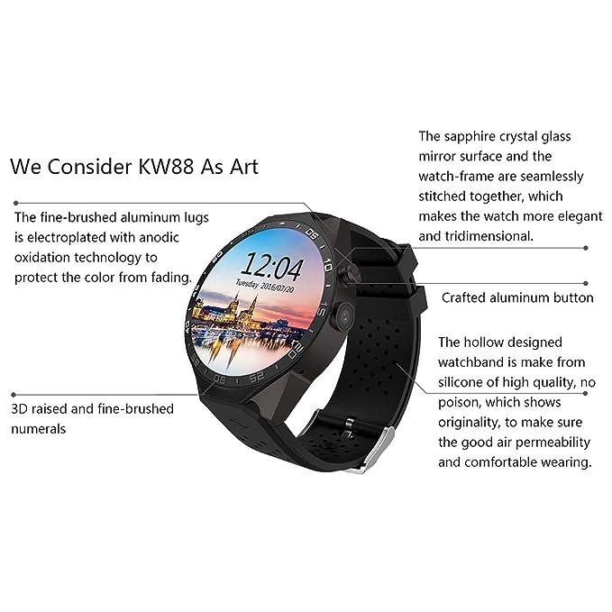 King-Wear KW88 Reloj Inteligente, King-Wear KW88 SmartWatch Podómetro Dispositivo de Ritmo cardíaco Anti-perdida para Android 5.1 OS Soporte WiFi Negro ...