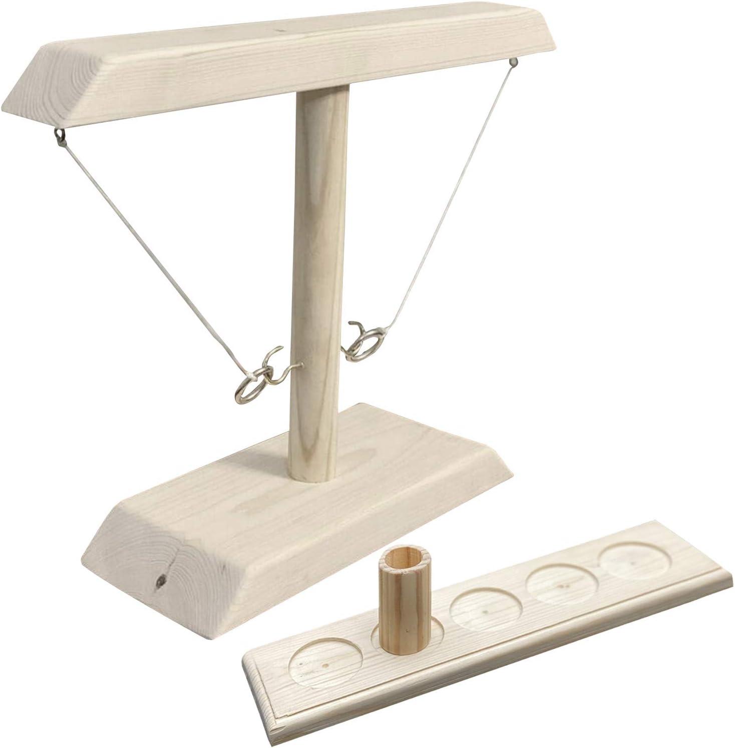 ZURITI Ring toss game hook and shot ladder game ring toss hook and ring indoor//outdoor game upgraded toss game-fun sports novelty toy Brown handmade wooden ring toss hooks