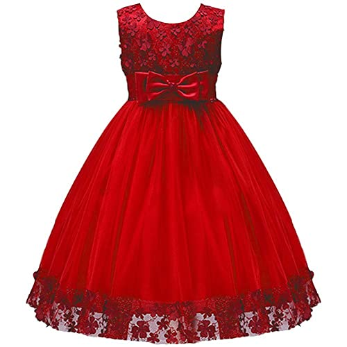 IWEMEK Kids Flower Girls Lace Tulle Dress Princess Birthday Party Dress with Bowknot Birthday Party Wedding