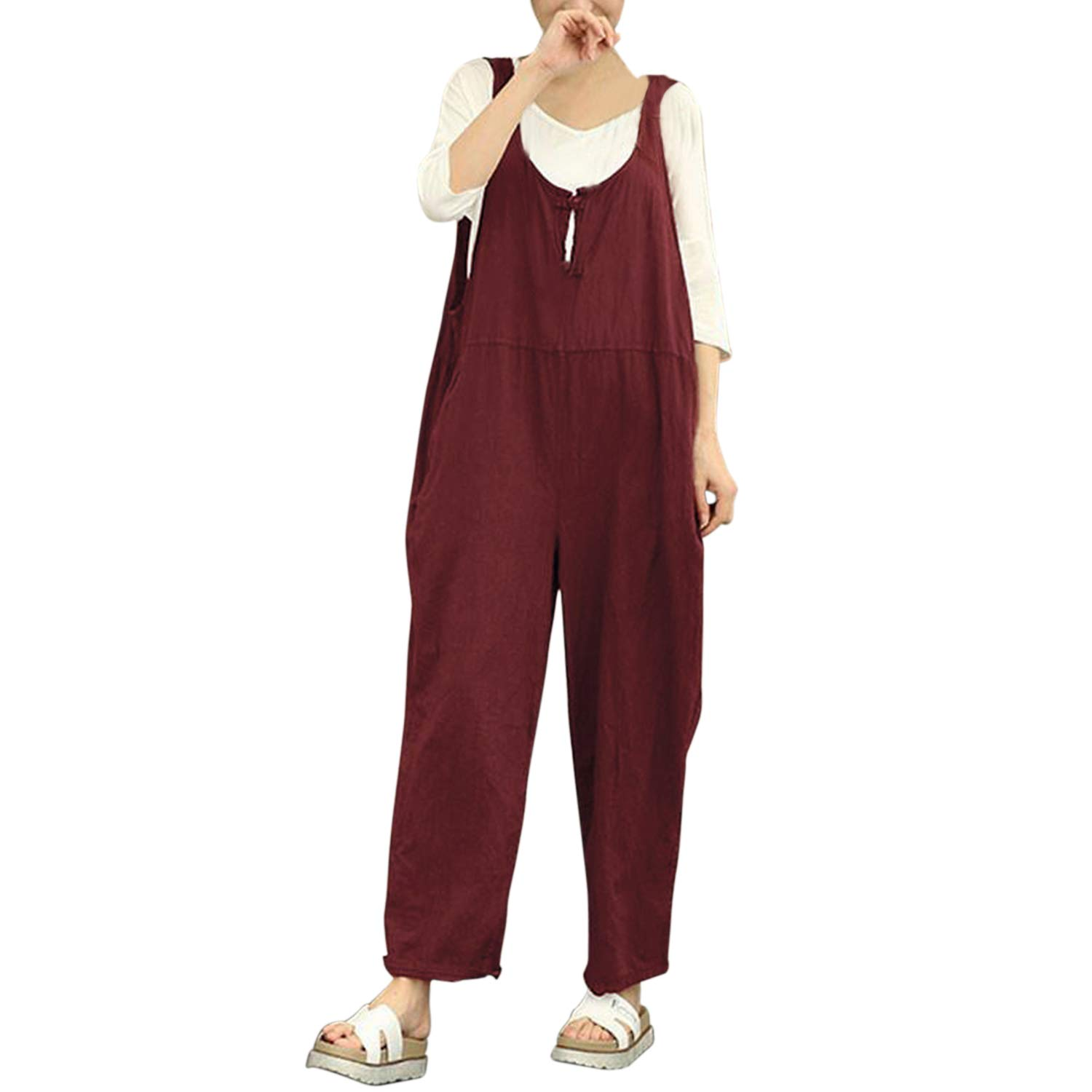 Fasion Story Women Casual Jumpsuit Overall Pants Baggy Wide Leg Cropped Trouser