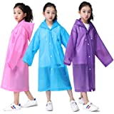 KINMAD Kids Rain Ponchos, 3 Pack Portable Reusable Emergency Raincoats for 6-12 Years Old Boys&Girls[Thicker & Reusable & Lightweight] EVA Outdoor Rain Coats Poncho for Traveling, Purple&Blue&Pink