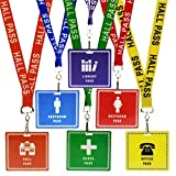 Bulk 36 Pack - Student Hall Pass Lanyards with Unbreakable Card Passes & Safety Breakaway Lanyards (Hall, Bathroom, Library, Office & Nurse) - Classroom/School Supplies for Teachers by Specialist ID
