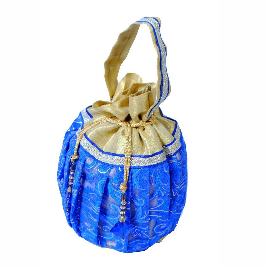 Maitri Creations Women Traditional Silk Brocade Purse Potli Bag Drawstring Jewelry Pouch Bag Cotton Gift Bag Value Set Wristlet Beaded Handbag Wedding Evening Party Designer Bridal Clutch Blue