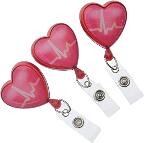 Heart Shaped EKG Badge Reels