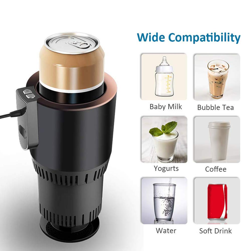 Reuvv Smart Car Cup Cooler Warmer Semiconductor Mini Fridge Drink Holder Cooling Heating Beverage Cans Coffee in Minutes 12V Auto Electric Cup Drink Holder For Road Trip