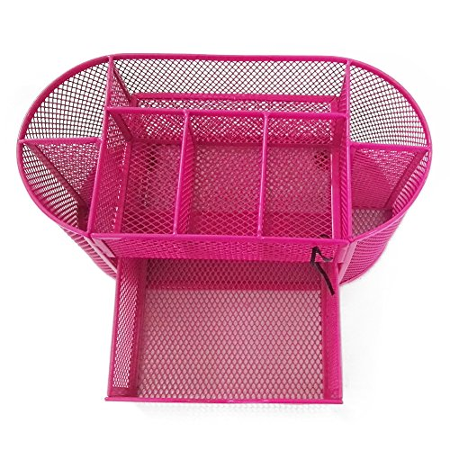 UHMei Desk Organizer ,Mesh Pen Holder Office Supply Metal Storage Box Basket with 9 Parts (pink)