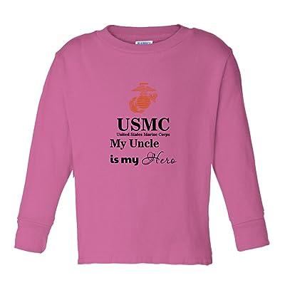 USMC My Uncle is My Hero Kids Long Sleeve Cotton T-Shirt Tee