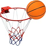 Pellor Panier de basket Cercle en Acier Inoxydable avec Ballon Convient à L`intérieur ou L`extérieur pour Enfant