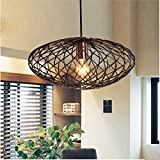 MSTAR Industrail Metal Pendant Light Copper Finished Oval Cage Lamp Shade Farmhouse Chandelier Ceiling Lighiting Fixture