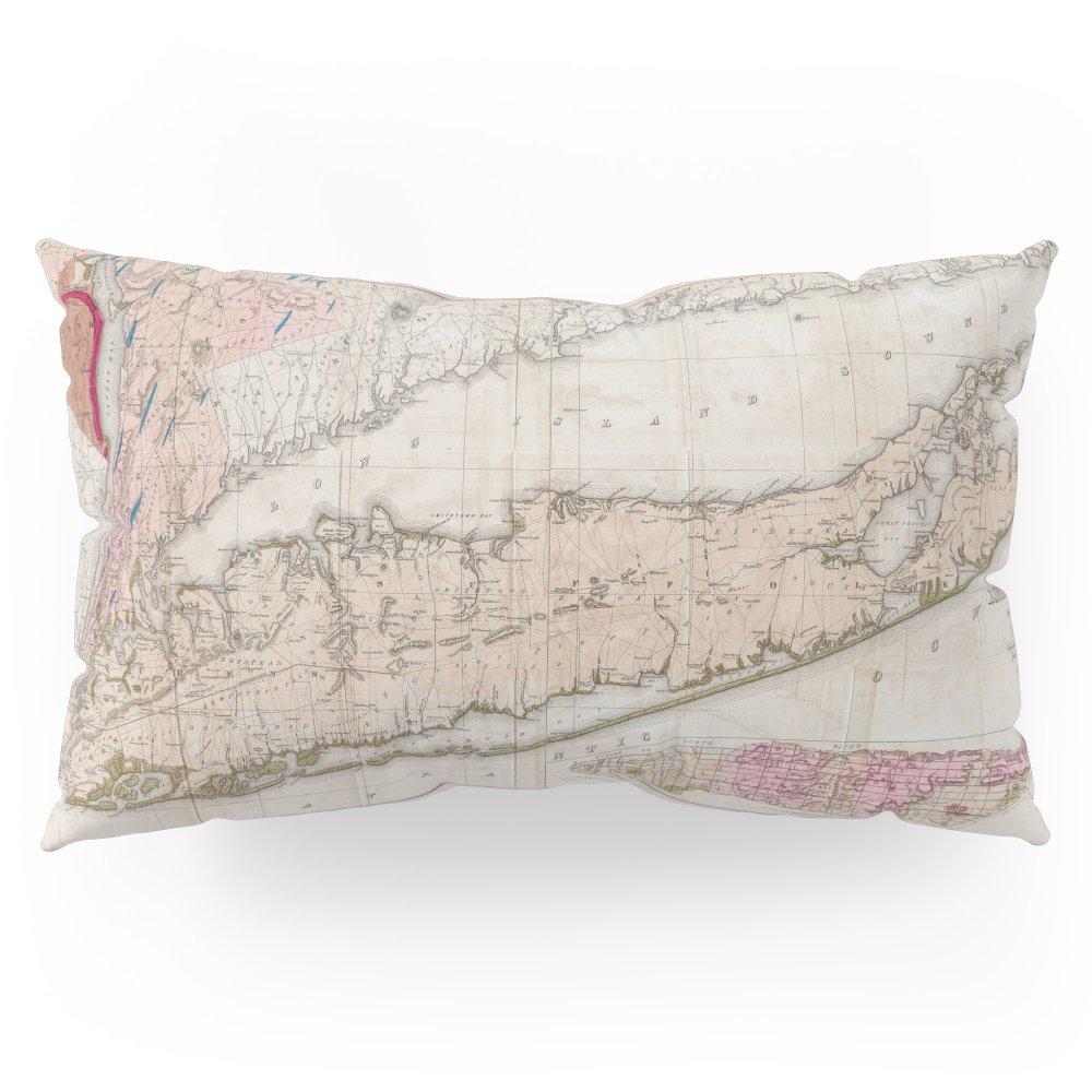 Society6 Long Island New York 1842 Mather Map Pillow Sham King (20'' x 36'') Set of 2