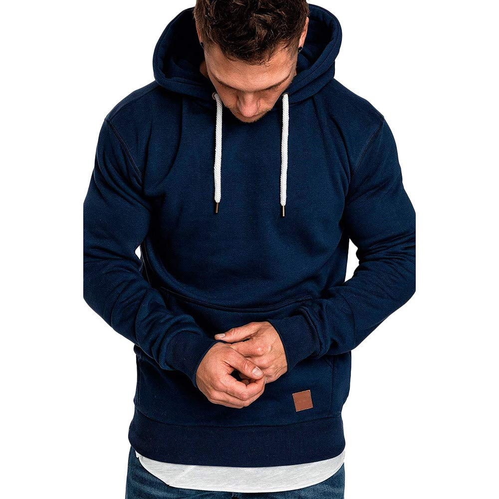 Clearance! Men Hoodie,Sunfei Men's Long Sleeve Autumn Winter Casual Sweatshirt Hoodies Tracksuits (Navy, XX-Large)