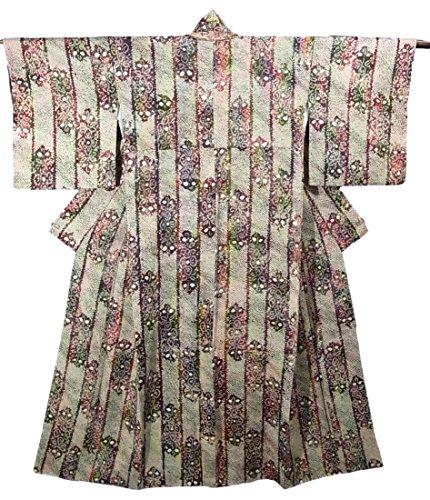 いつか記念日応用リサイクル 着物 絞り染め 唐花模様 正絹 袷 裄65cm 身丈153cm