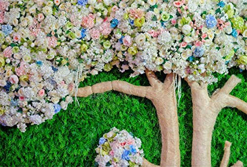 - CSFOTO 5x3ft Background for Wedding Simulation Flower Tree Grass Photography Backdrop Green Meadow Floral Bouquet Happy Celebrate Engaged Ceremony Decoration Photo Studio Props Wallpaper
