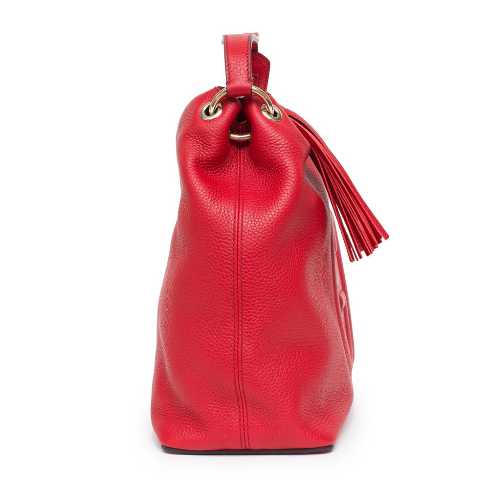 Gucci Soho Flame Red Leather Bag Soft Hobo Italy Handbag New by Gucci (Image #3)