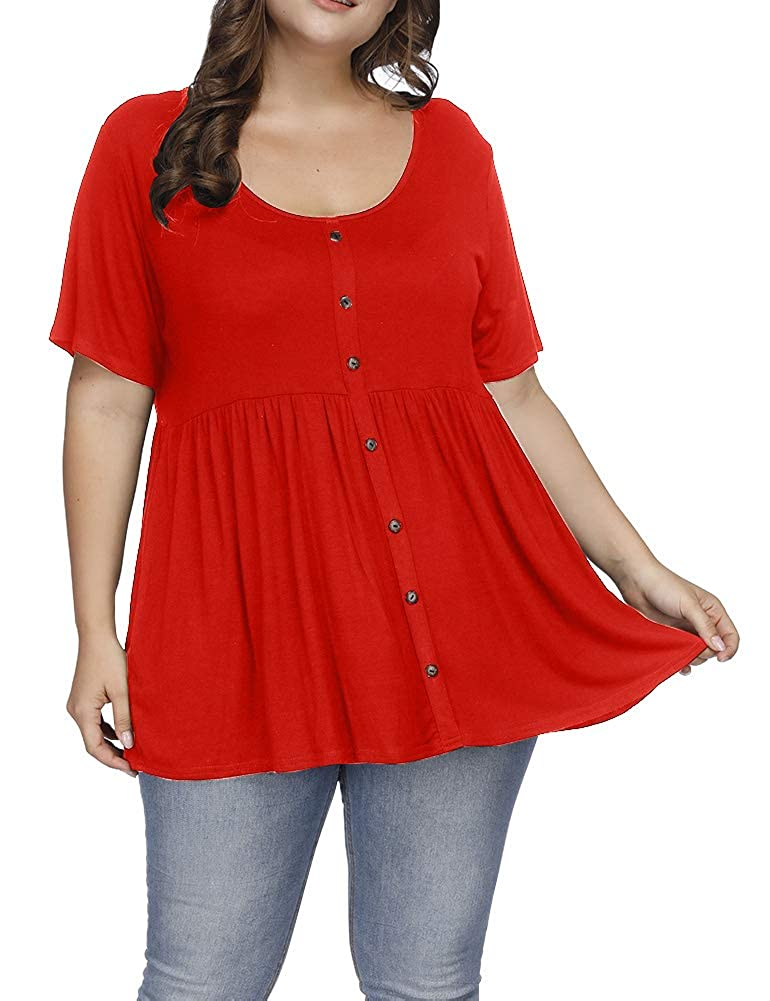 Allegrace Women's Plus Size Henley Scoop Neck Button Tunic Tops Short Sleeve Swing Flowy Shirts AG434