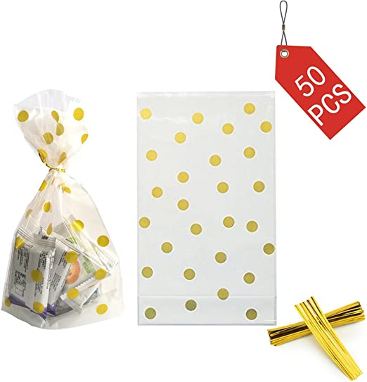 Cone Cello Bags Party Polka Dots Sweets Candy Buffet Wedding Gift Cellophane x10