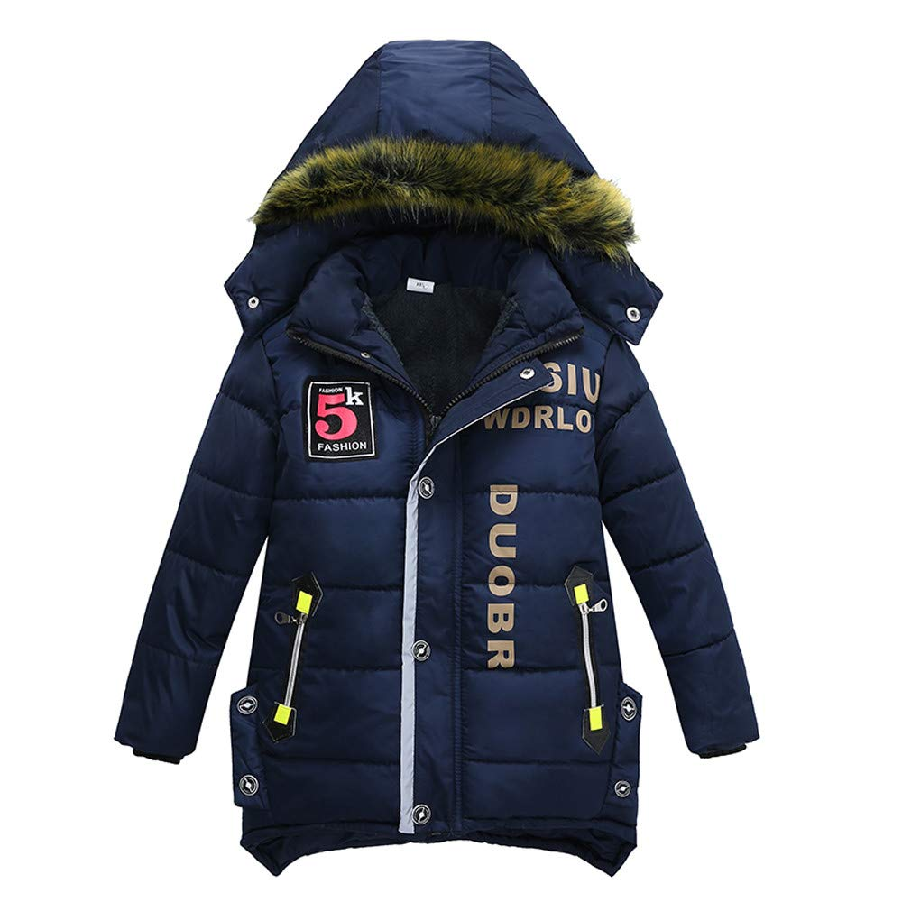 Winsummer Big Boys Girls Winter Warm Down Puffer Jacket Coat Thick Outerwear Padded Overcoat with Hood Snowsuit Navy, 3-4T