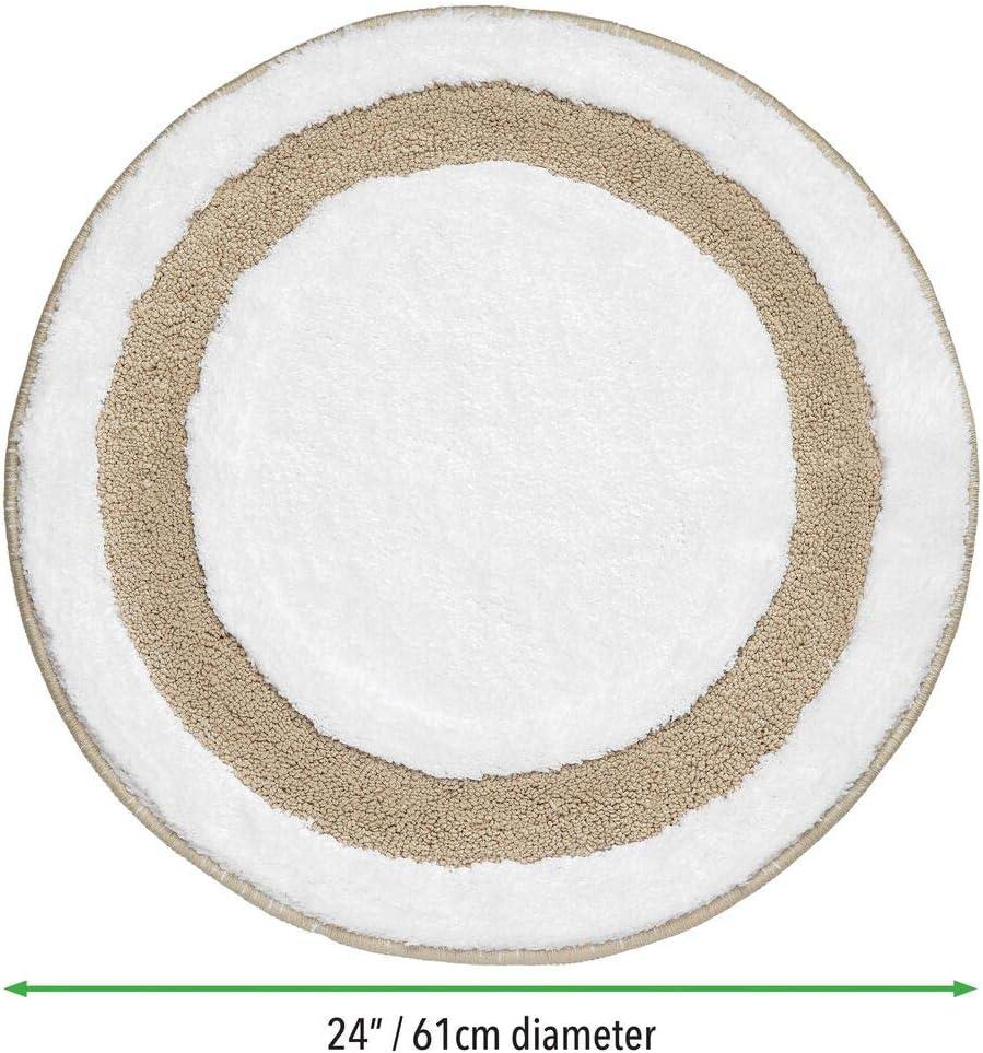 mDesign Soft Microfiber Polyester Non-Slip Extra-Long Spa Mat//Runner Light Pink//White 24 Diameter Plush Water Absorbent Accent Rug for Bathroom Vanity Bathtub//Shower Machine Washable