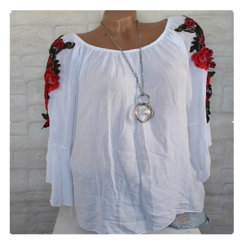 Blouse For Women-Clearance Sale, Farjing Plus Size Long Sleeve Shirt Embroidered Applique Blouse Pullover Tops (US:12/2XL,White)