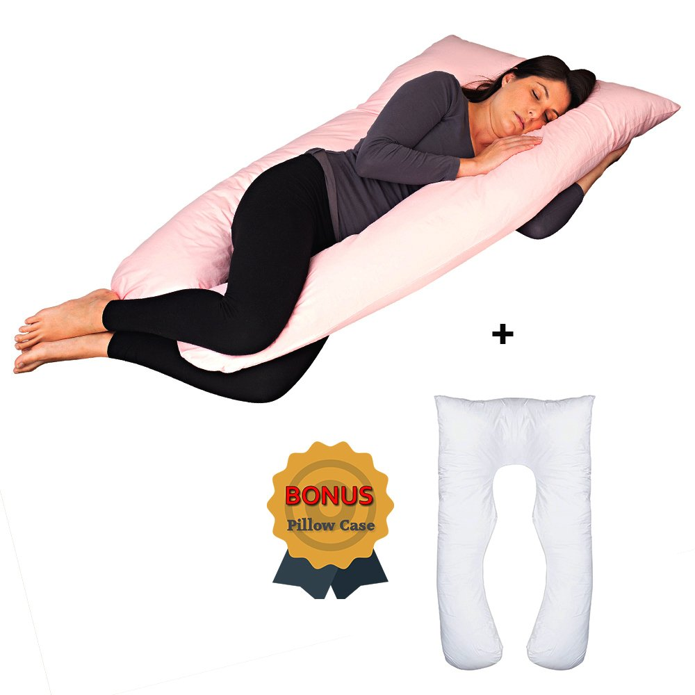 50 inch, 100% Cotton, U-Shaped Full Body Pregnancy Maternity Body Pillow + Bonus Second Pillow CASE Support Your Belly, Back, Hips & Knees -Unparalleled Support