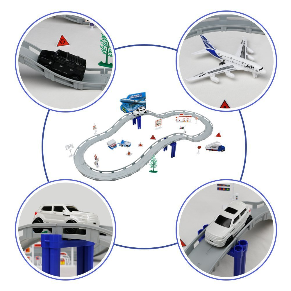 Airport Playset Racing Track Car Track Race Track Set Airport Toys Road Track Car Building Set Racing Car Set Airport Model