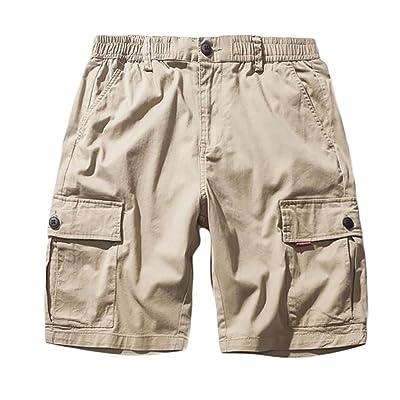 ARTFFEL Men Multi Pockets Casual Relaxed Fit Classic Plus Size Cargo Shorts No Belt