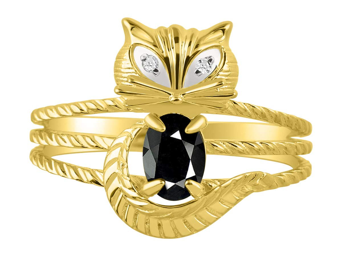 RYLOS Simply Fun CAT Onyx & Diamond Ring - October Birthstone. Great Ring for Pinky, Middle or Pointer Finger.
