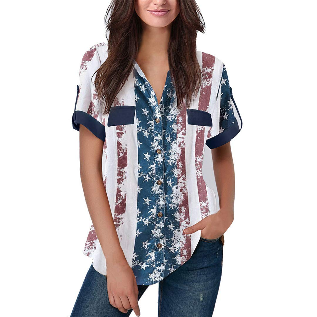AFUOLH American Flag Short Sleeve Shirt Fashion V-Neck Loose Casual T-Shirts