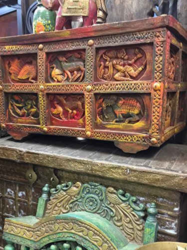 Antique Indian Tribal Chest Carved Sideboard Reclaimed