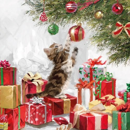 4 Paper Napkins for Decoupage - 3-ply, 33 x 33cm - Christmas - Kitten & Baubles (4 Individual Napkins for Craft and Napkin Art.) Tigers on the Loose