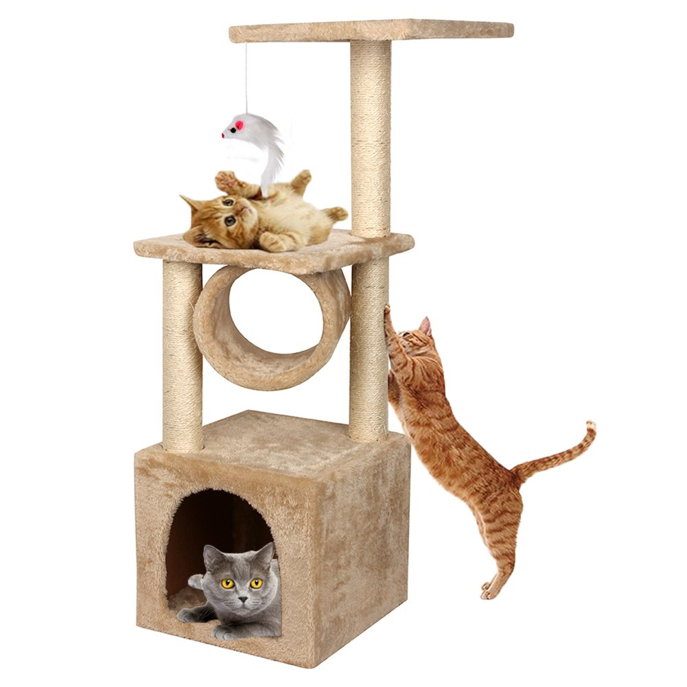 Yohoz 36in Deluxe Faux Fur Level Cat Tree Condo Furniture Climbing Activity Tower Scratching Scratcher Post Kittens Pet Play House and Tunnel Play Toy (Beige)
