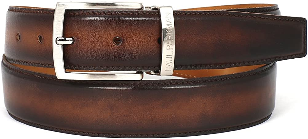 ID#B01-BRWCML PAUL PARKMAN Mens Leather Belt Hand-Painted Brown and Camel
