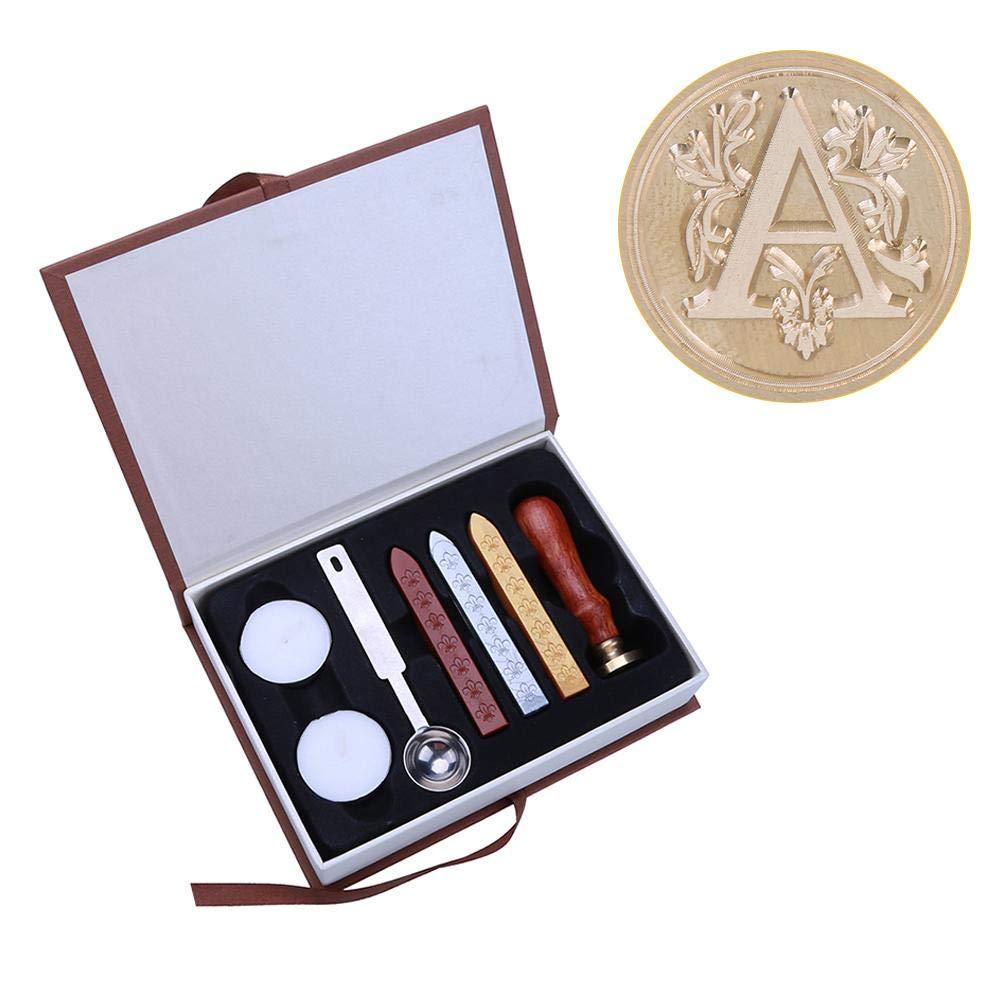 HighPlus English Alphabet Letter Wax Seal Stamp Set Metal Sealing Wax Stamps Sticks Candles Set