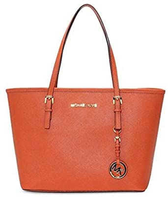 57c942a423e3 Image Unavailable. Image not available for. Color: MICHAEL Michael Kors Jet  Set Travel Saffiano Leather Small Tote ...