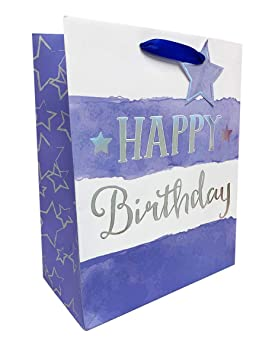 Birthday Gift Bag Mens Large For Him Boys Present Wrap Blue Silver Tag Free Tape