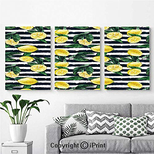 Modern Gallery Wrapped Canvas Print Refreshing Lemons on Horizontal Striped Background Exotic Artwork 3 Panels Pictures on Canvas Wall Art Ready to Hang for Living Room Kitchen Home Decor,12