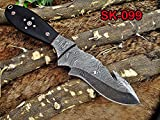 """9"""" Long hand forged Damascus steel full tang skinning Knife with gut hook"""