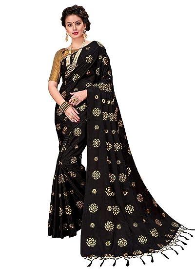 a8f2e4cbc4 Monjolika Fashion Women's Double Tone Silk Saree (Free Size, Black, 35497)