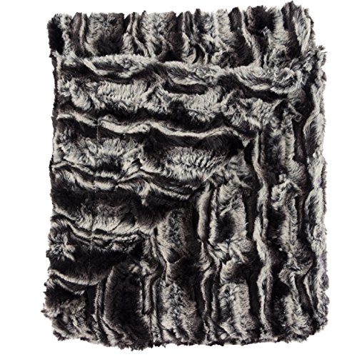 Ultra Soft Plush Baby Receiving Blanket - Luscious, Luxurious and Cuddly Minky Reversible Blankie - Midnight Fur - 30 x 36 - by Posh Designs