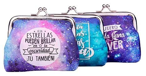 Lote 24 Monederos Universo Galaxia con Frases - Monederos Originales Detalles de Bodas, Bautizos,
