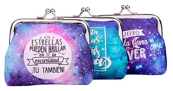 Lote 24 Monederos Universo Galaxia con Frases - Monederos Originales Detalles de Bodas, Bautizos, Comuniones, Cumpleaños y Eventos: Amazon.es: Equipaje