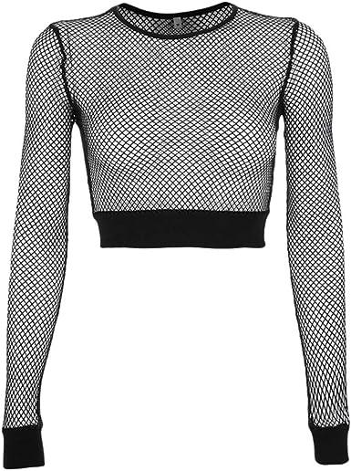hibote Sexy Black Hollow out Mesh T-Shirt Skinny Crop Top Tops básicos para Mujer Camisa de Rejilla: Amazon.es: Ropa y accesorios