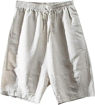 Pantalones Cortos de Hombres Mezcla de algodón Men Pants de Verano ...