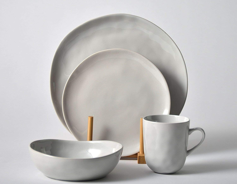 Pangu 16-Piece Dinnerware Set, Service for 4, Light Grey, 4 Bowls, 4 Dishs, 4 Salad Plates, 4 Mugs, Kitchen, MINIMALISM