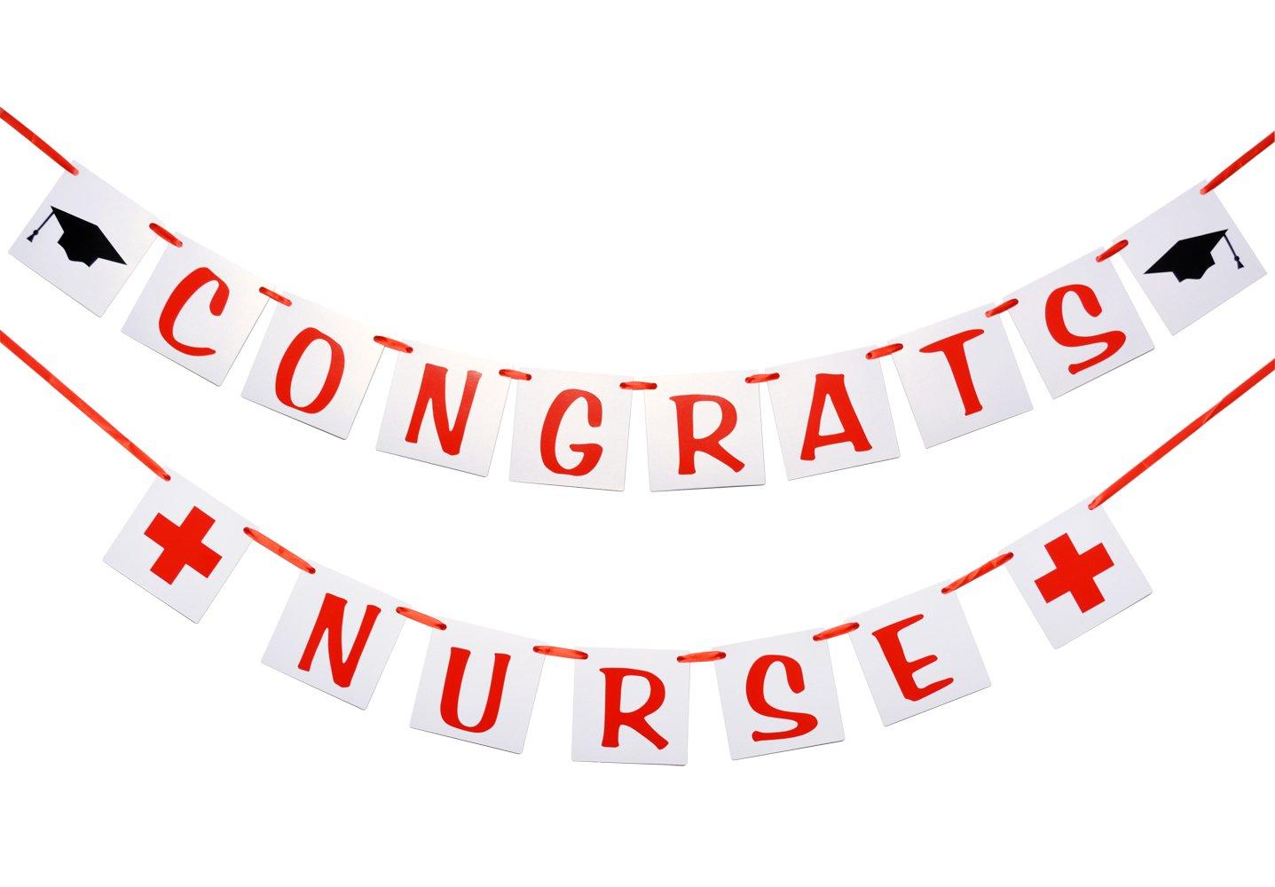 Congrats Nurse Banner, Nurse Graduation Decor, RN Graduation Sign. by Qttier
