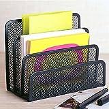 Desk Mail Organizer - HENGSHENG Small File Holders Letter Organizer Metal Mesh, Document/Filing/Folders/Paper Organizer for Desktop - 3 Vertical Upright Compartments - Black