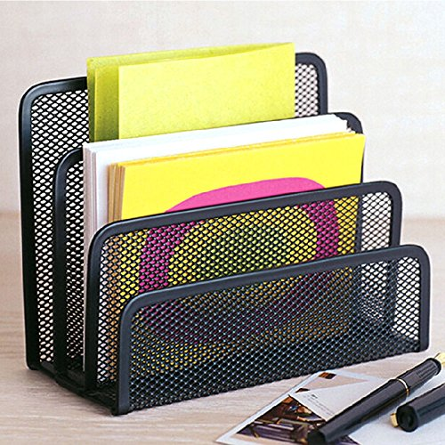 Desk Mail Organizer - wishacc Small File Holders Letter Organizer Metal Mesh, Document/Filing/Folders/Paper Organizer for Desktop - 3 Vertical Upright Compartments - Black ()