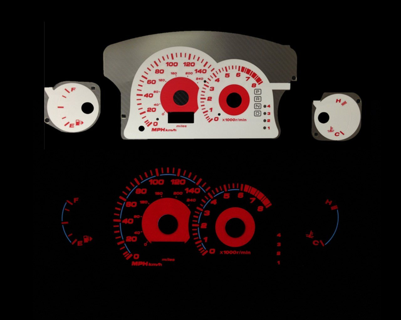 Brand New White Face Red Indigo Reverse Glow Gauges For 00-05 Mitsubishi Eclipse I4 AT (I-175rd) by Monoka Racing (Image #1)