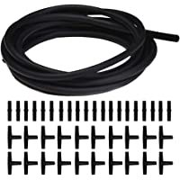 JIH 25 Feet Standard 3/16 inch Airline Tubing Black with 40 Pcs Connectors for Aquariums, Terrariums, and Hydroponics